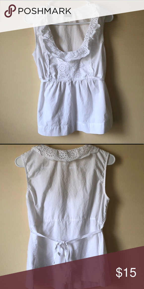 337384ea7da981 J Crew Cotton Blouse J crew white cotton blouse with back tie. Very cute  and comfy. No fading and in great condition! Offers are always welcome.