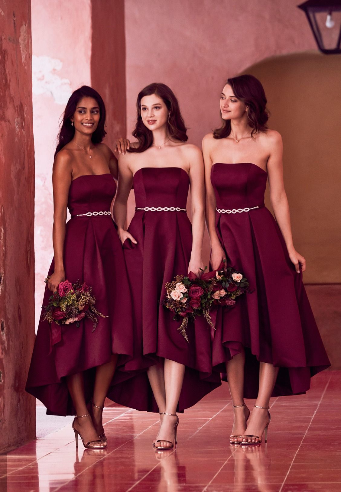 High Low Satin Bridesmaid Dress With Pockets David S Bridal High Low Bridesmaid Dresses Satin Bridesmaid Dresses Maroon Bridesmaid Dresses