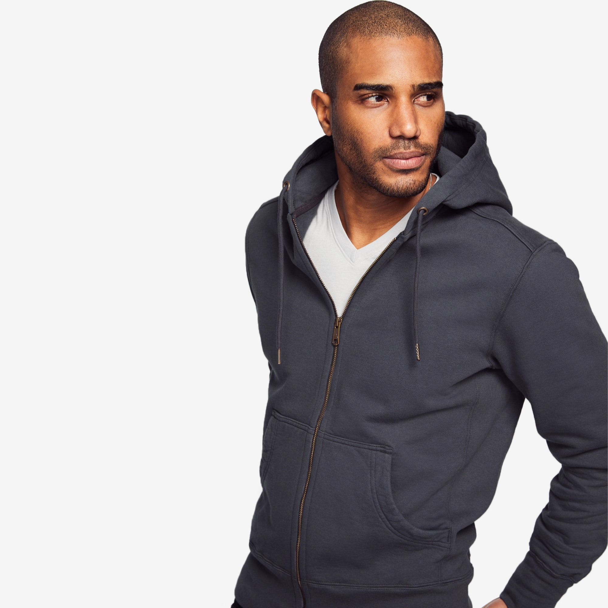 Classic full zip black full zip hooded sweatshirt