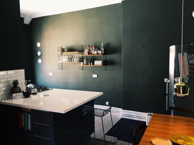 Moderne Küche mit dunkler Wand und minimalistischer