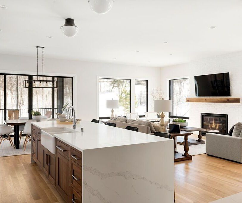Views all around in this open concept kitchen and living ...