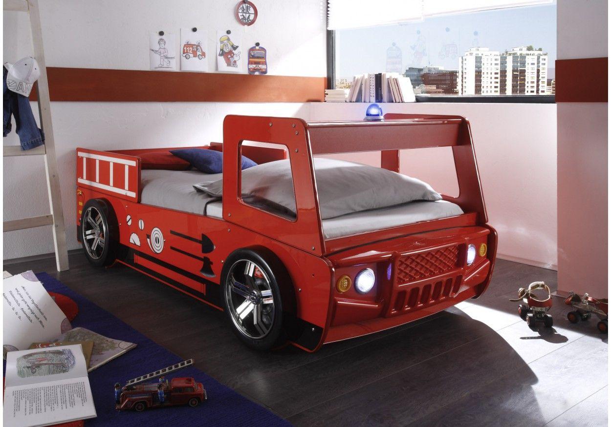 6200100 Feuerwehrbett 90 x 200 cm rot glänzend lackiert
