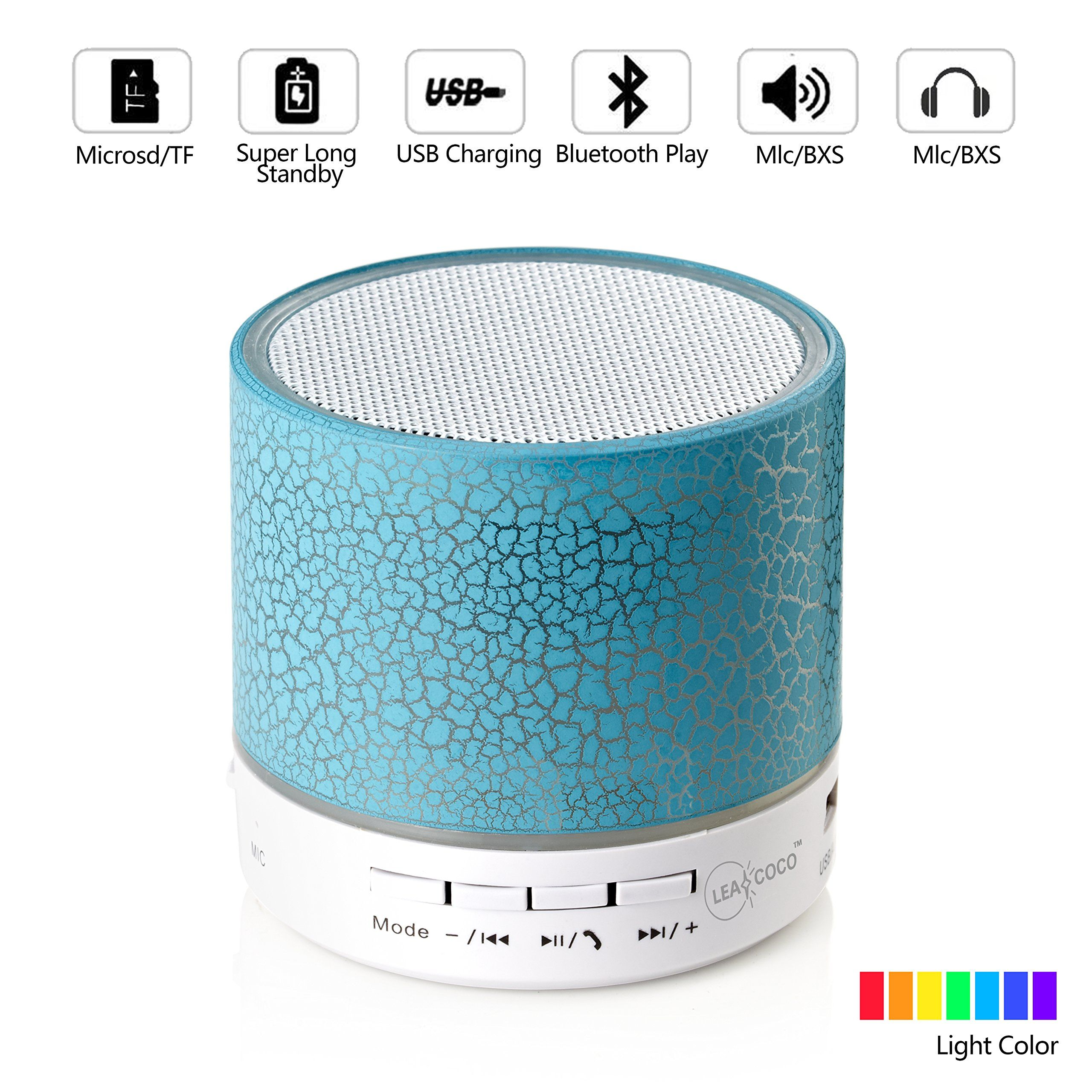 Leacoco Mini Wireless Portable Bluetooth Speaker With LED and Build ...