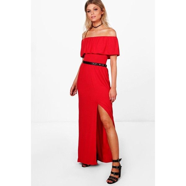 21a48f7175d9 Boohoo Petite Sia Off The Shoulder Frill Split Maxi Dress ( 36) ❤ liked on