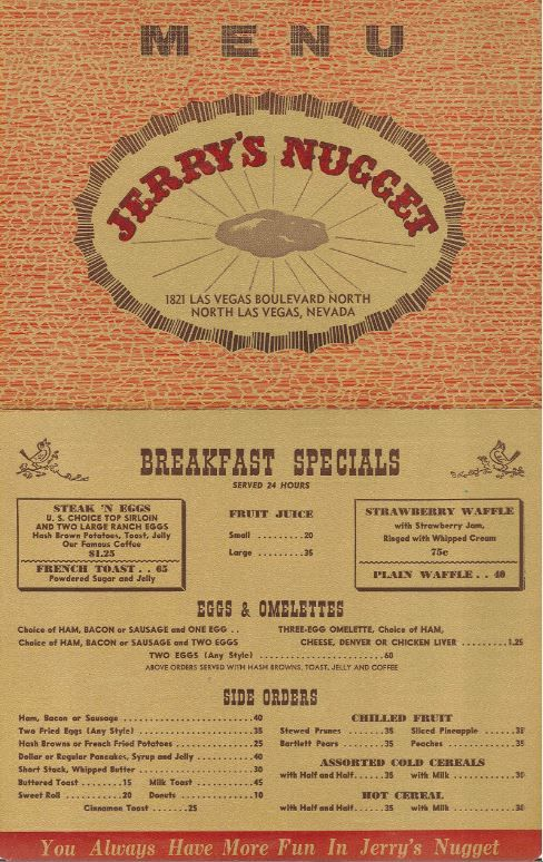 JerryS Nugget Coffee Shop Menu From The S Vintagevegas