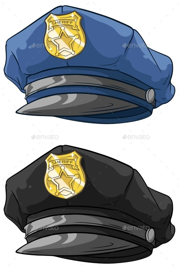 Cartoon Police Hat With Golden Badge Set By Gb Art A Vector Illustration Of Cartoon Police Hat With Golden Badge Set Police Hat Cartoon Police