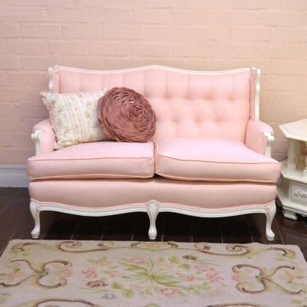 Pink Linen Tufted Vintage Style Sofa $1.295.00 #thebellacottage #pink #sofa #vintage #linen #chic #home #ooak