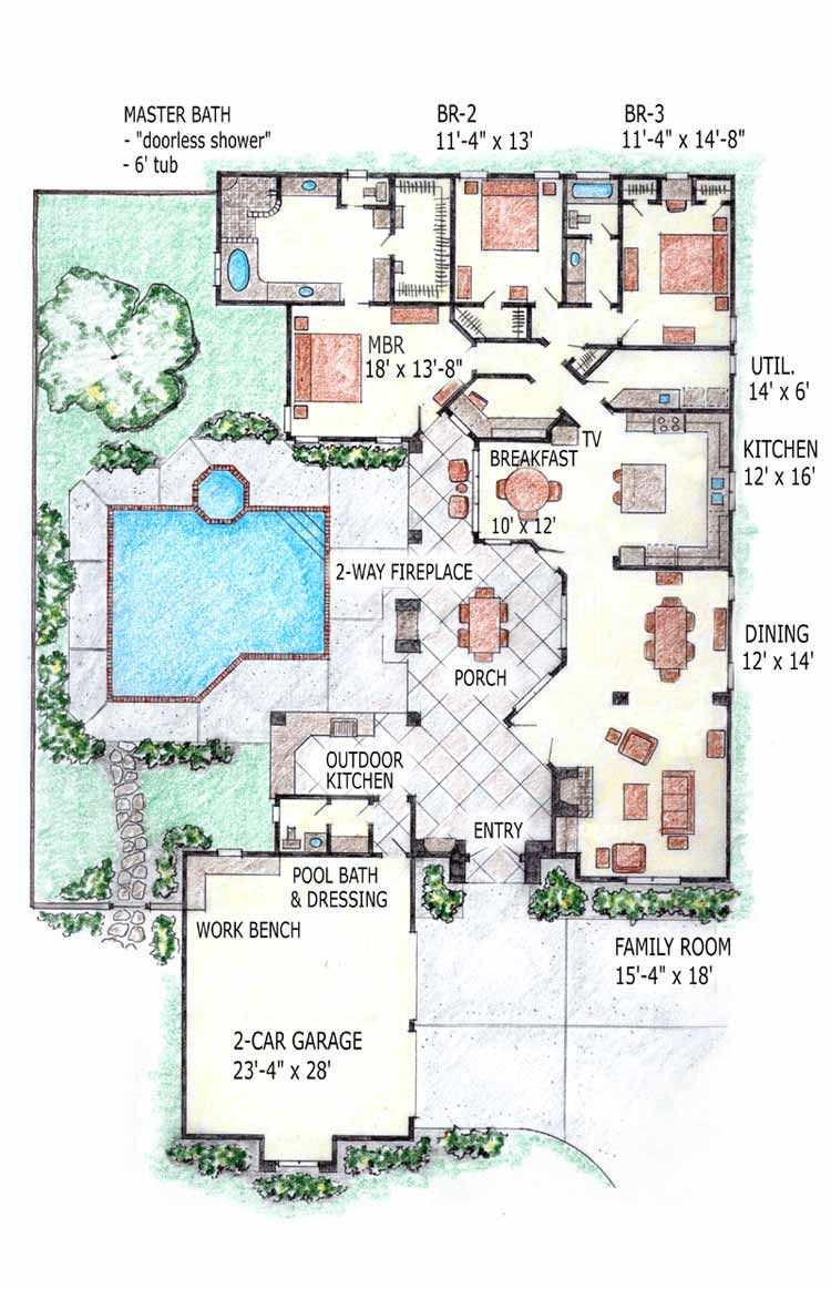 Plans Jpg 750 1163 With Pool And Covered Patio Indoor Pool House Courtyard House Plans Pool House Plans
