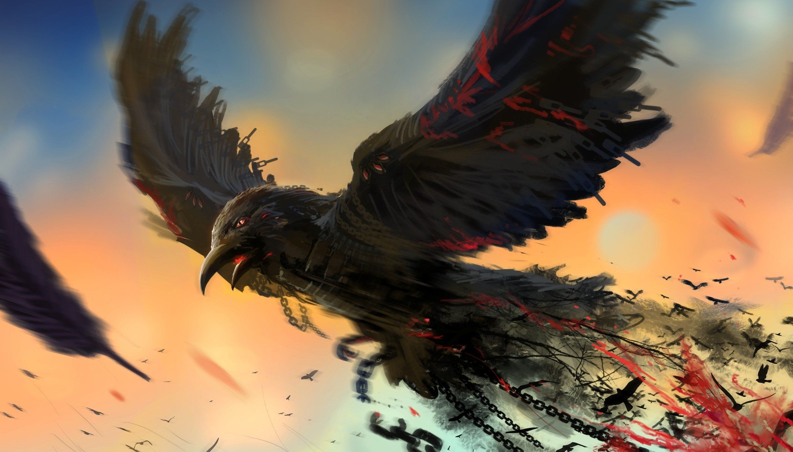 Raven Bird Art bird chain art raven dark blood wallpaper