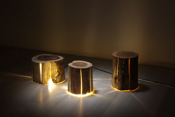 There's a distinct back-to-nature trend when it comes to decorating nurseries and children's bedrooms. Here's a lamp to take your woodland themed nursery to a stunning new level. It's the cracked log lamp, by young Tasmanian designer and furniture craftsman Duncan Meerding. Beautiful, isn't it? Duncan,