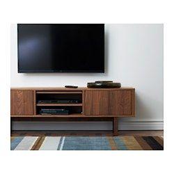 IKEA - STOCKHOLM, TV-benk, beige, , Du kan enkelt gjemme kabler ved å lede dem mellom hyller og ut kabeluttaket på undersiden av benken.Du kan enkelt justere høyden slik at den passer det du skal oppbevare fordi hylleplatene kan flyttes.Du kan plassere TV-benken mot en vegg, frittstående eller som en avdeler i et rom, siden den har en fin bakside.TV-benken har justerbare føtter, og står støtt også på ujevne gulv.