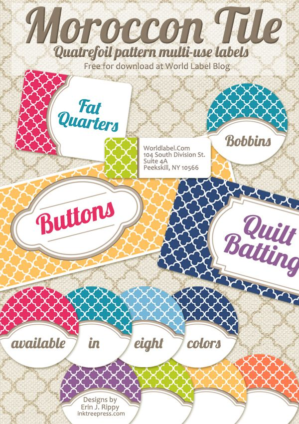 Free Editable Quatrefoil Labels Round labels, Free printable - free address labels samples