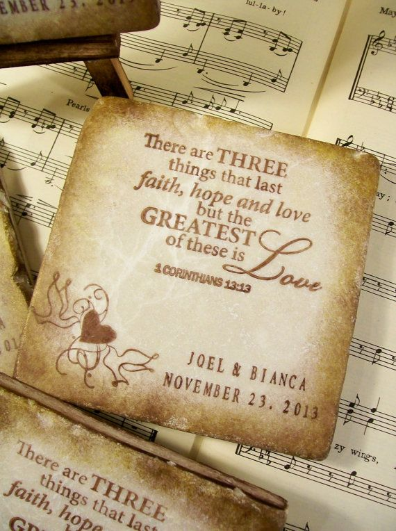 Personalized Wedding There Are Three Things That Last Scripture Gift For S Custom Coasters 1 Corinthians