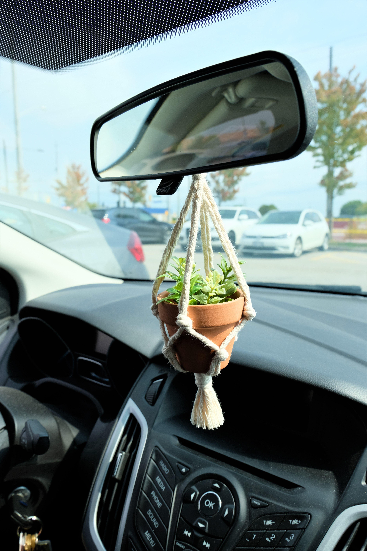 REAR VIEW MIRROR Charm simple minimalist mini macrame plant | Etsy