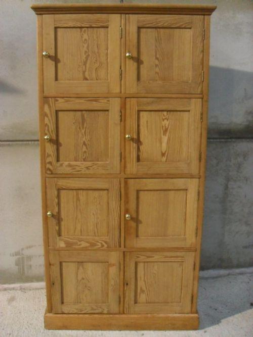UNUSUAL VICTORIAN PITCH PINE 8 PANELLED DOOR TALL STORAGE CUPBOARD ...
