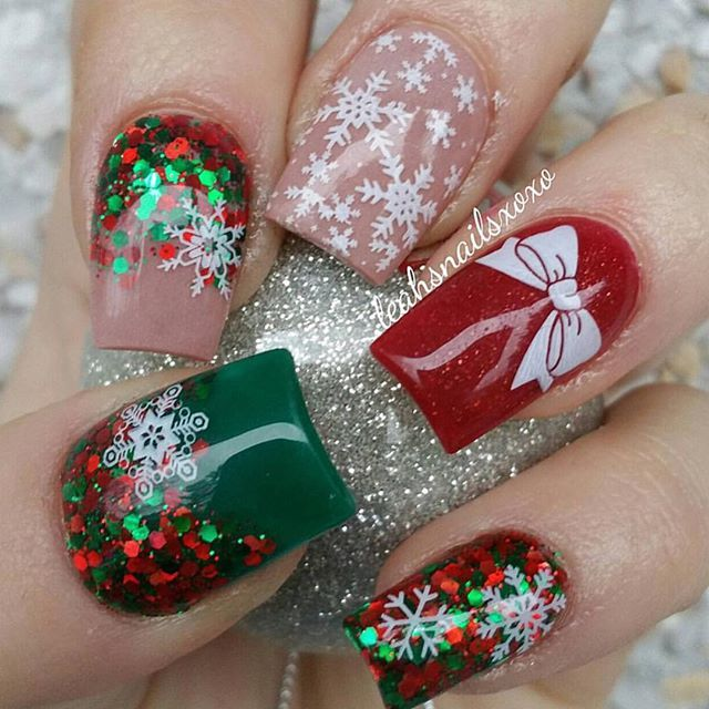 The Best Christmas Nail Art From Instagram: Instagram Photo Of Acrylic Nails By Leahsnailsxoxo