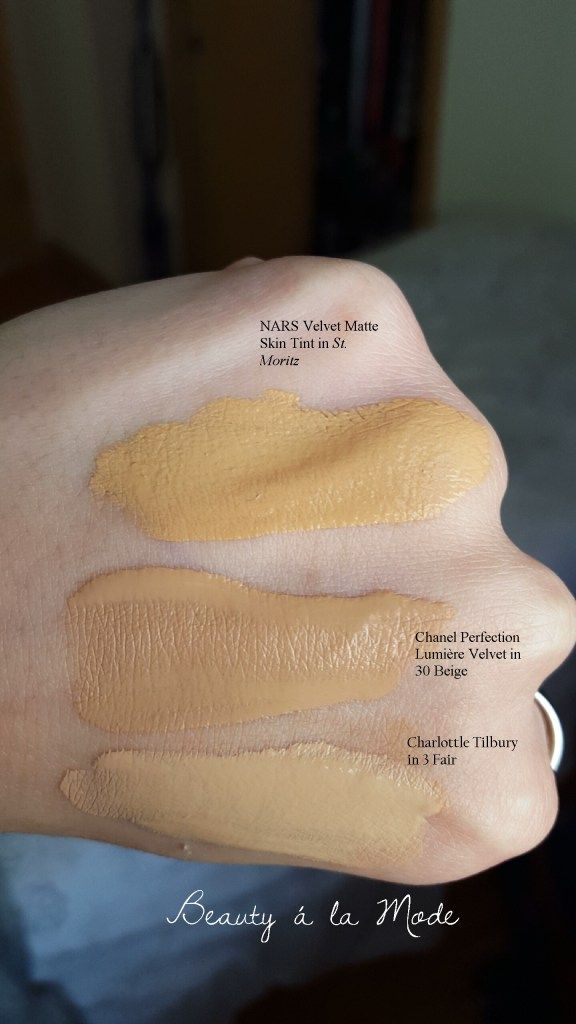 Charlotte Tilbury Magic Foundation Review Fair 3 Chanel Perfection Lumière Velvet in Beige 30 and NARS Velvet Matte Skin Tint in St. Moritz