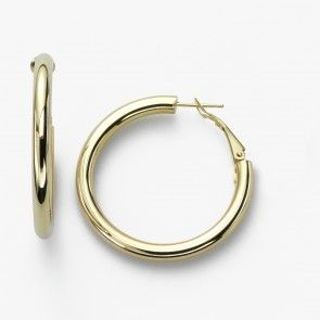 Classic Hoop Earring, 1.5 Inch, 4 Millimeters Wide, 14K Yellow Gold