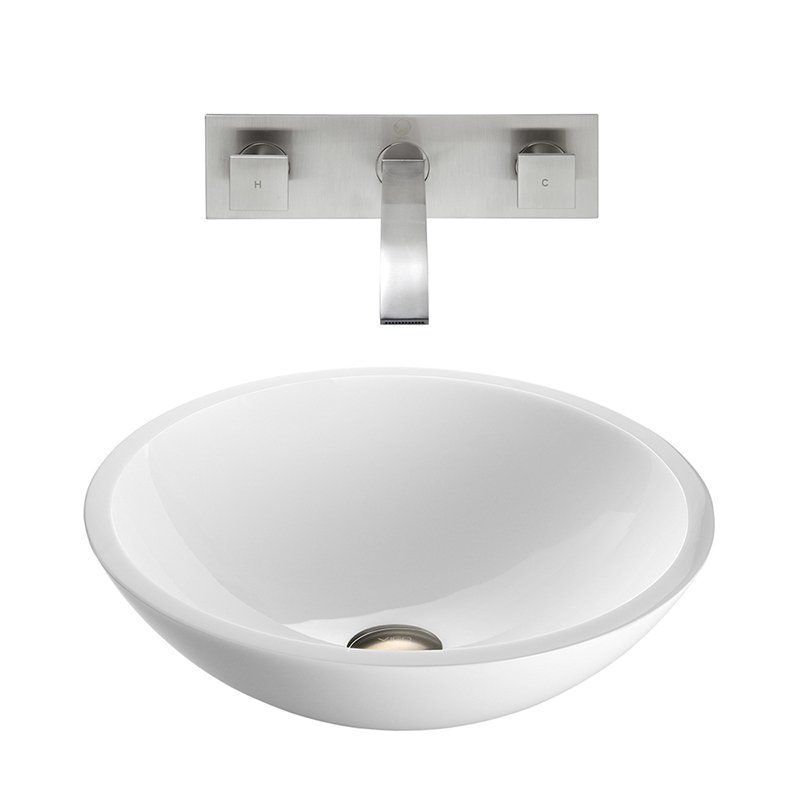 Vigo VGT228 Flat Edged White Phoenix Stone Glass Vessel Sink with Wall Mount Faucet - Brushed Nickel - VGT228