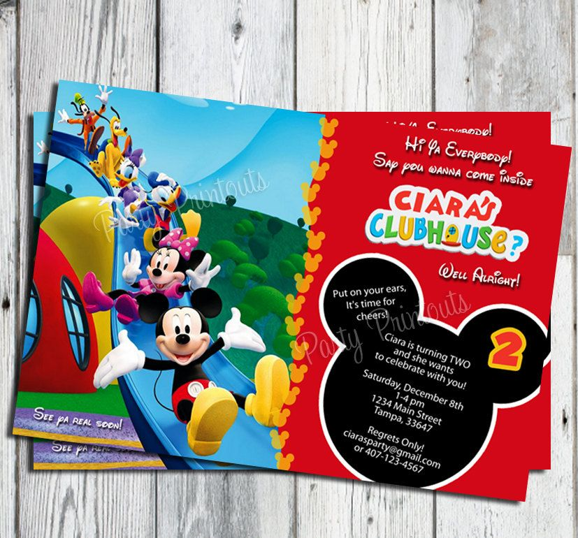 Mickey Mouse Birthday Invitation: | Drew\'s 2 birthday | Pinterest ...
