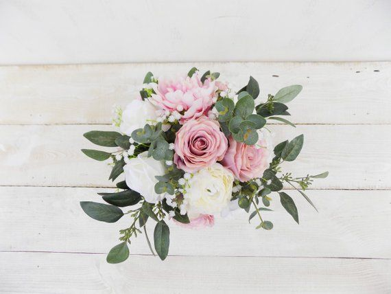 Rustic boho bridal bouquet bridesmaid bouquet white blush dusky pink eucalyptus artificial silk flowers Spring Summer wedding set package