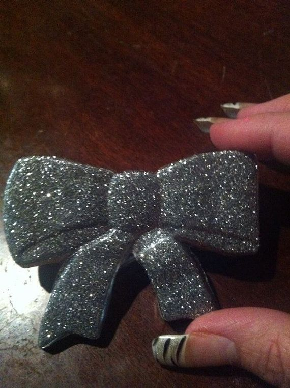 Large Sparkly Silver Hair Bow by TattooedCuties on Etsy, $5.00