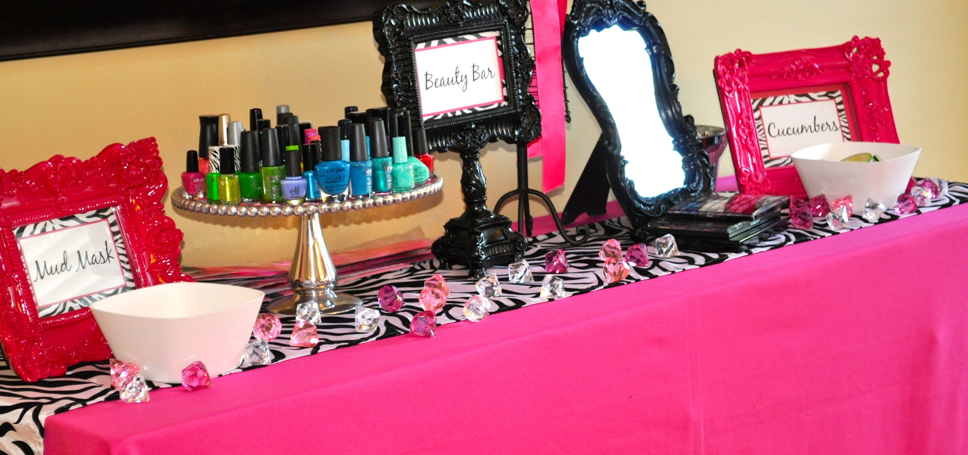 Beauty Bar At Pink Zebra Spa Party Spa Birthday Party