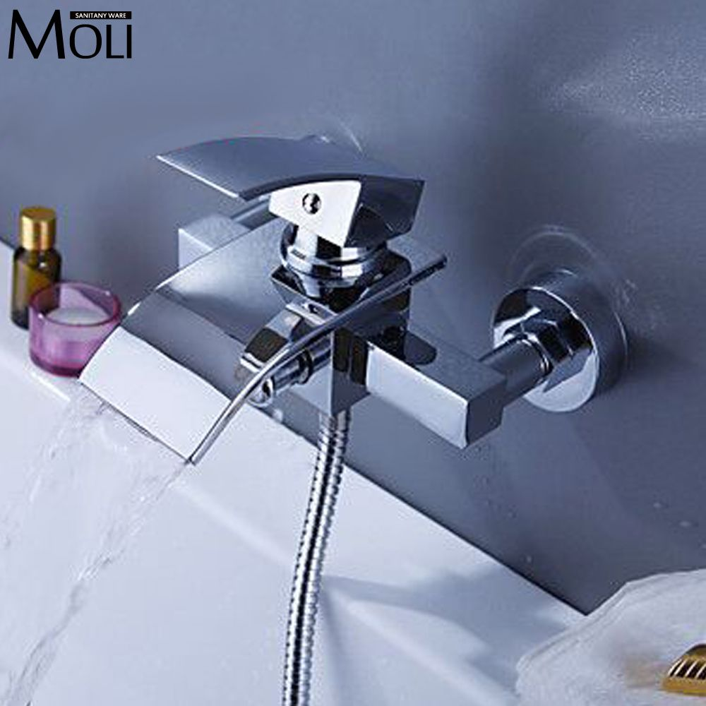 Wall bath mixer waterfall faucet square bath shower water tap tub ...
