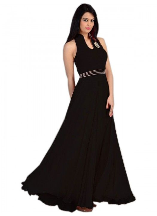 Colour Black Fabric Georgette, Velvet Inner Fabric Santoon Occasion Reception, Party Size Medium Type Gown