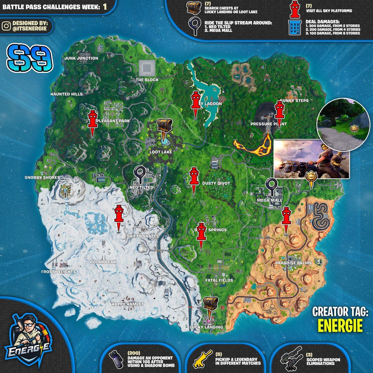 Fortnite Cheat Sheet Map For Season 9 Week 1 Challenges