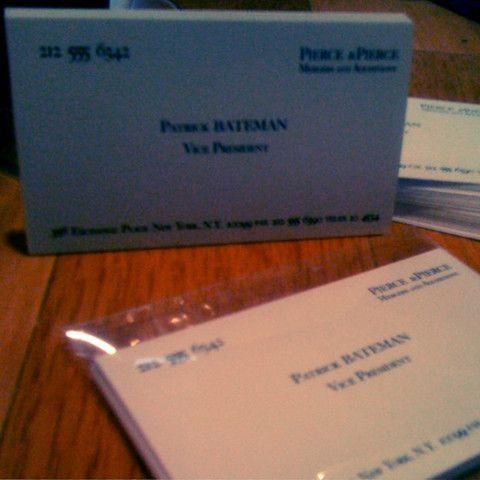 Patrick Bateman Business Cards American Psycho American Psycho American Easy Lessons