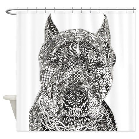 American Pitbull Terrier Shower Curtain By A Tangle Grows In Brooklyn Pitbull Terrier American Pitbull Animal Humour