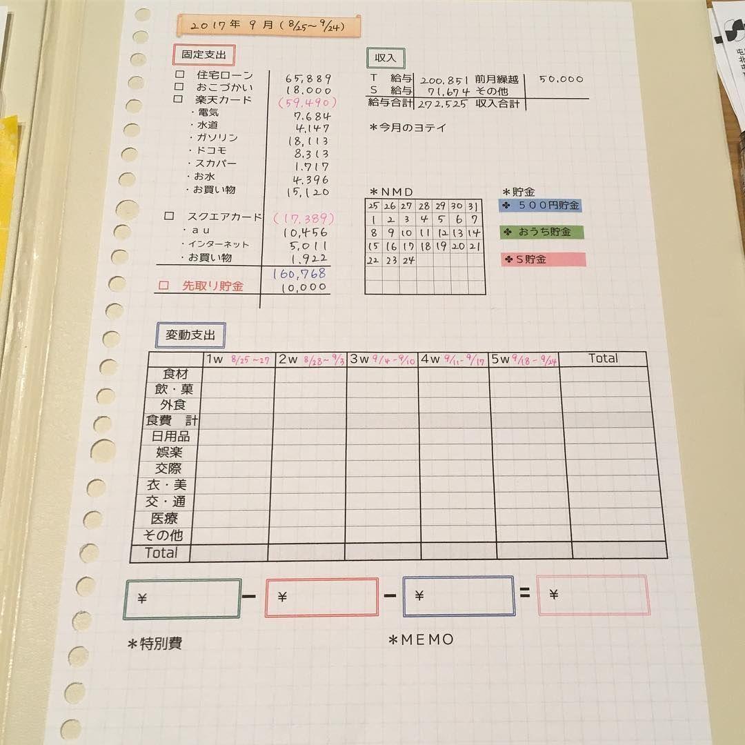 2017 09 01 家計簿フォーマット変更 今日から9月 心機一転