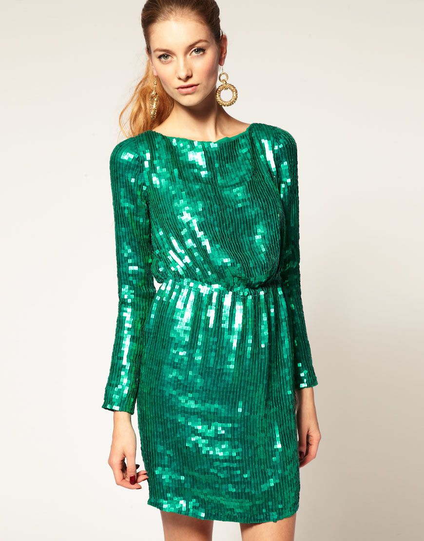 Sequin Dress with Long Sleeves | Asos sequin dress, Xmas party ...