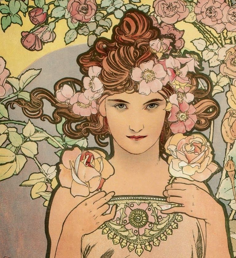 LARGE SIZE PAINTINGS: Alfons MUCHA The Rose 1898 (Detail)