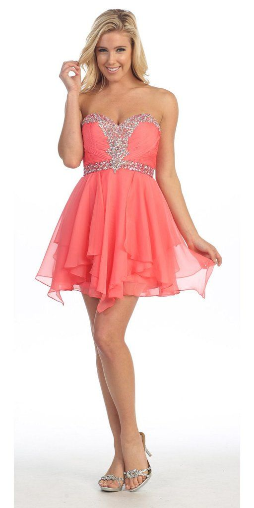 Short Coral Strapless Dress