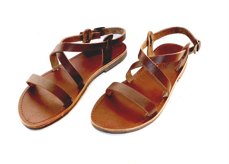 Sandalen ANANIAS griechische Riemchen Leder Sandalen ein