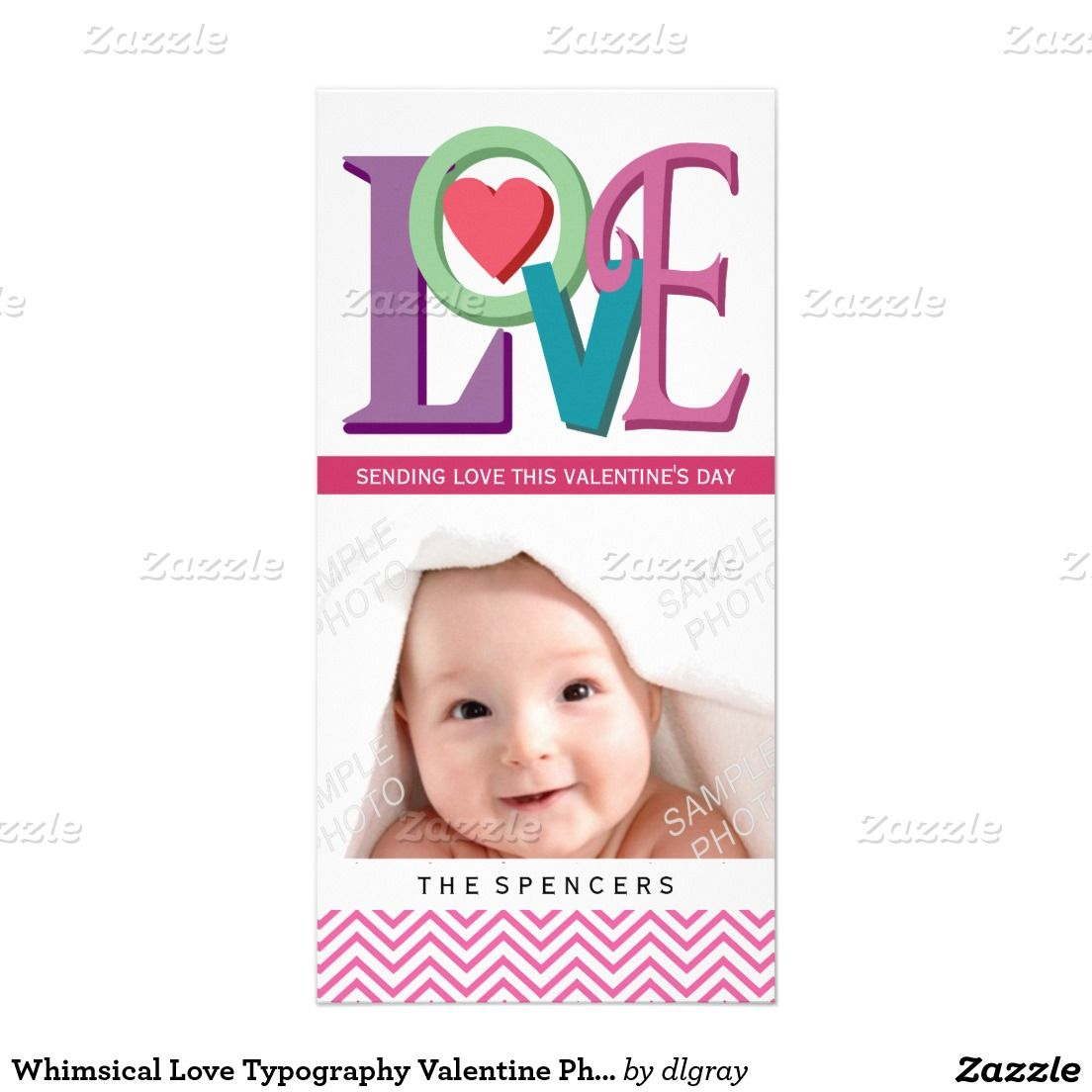 Whimsical Love Typography Valentine Photo Cards