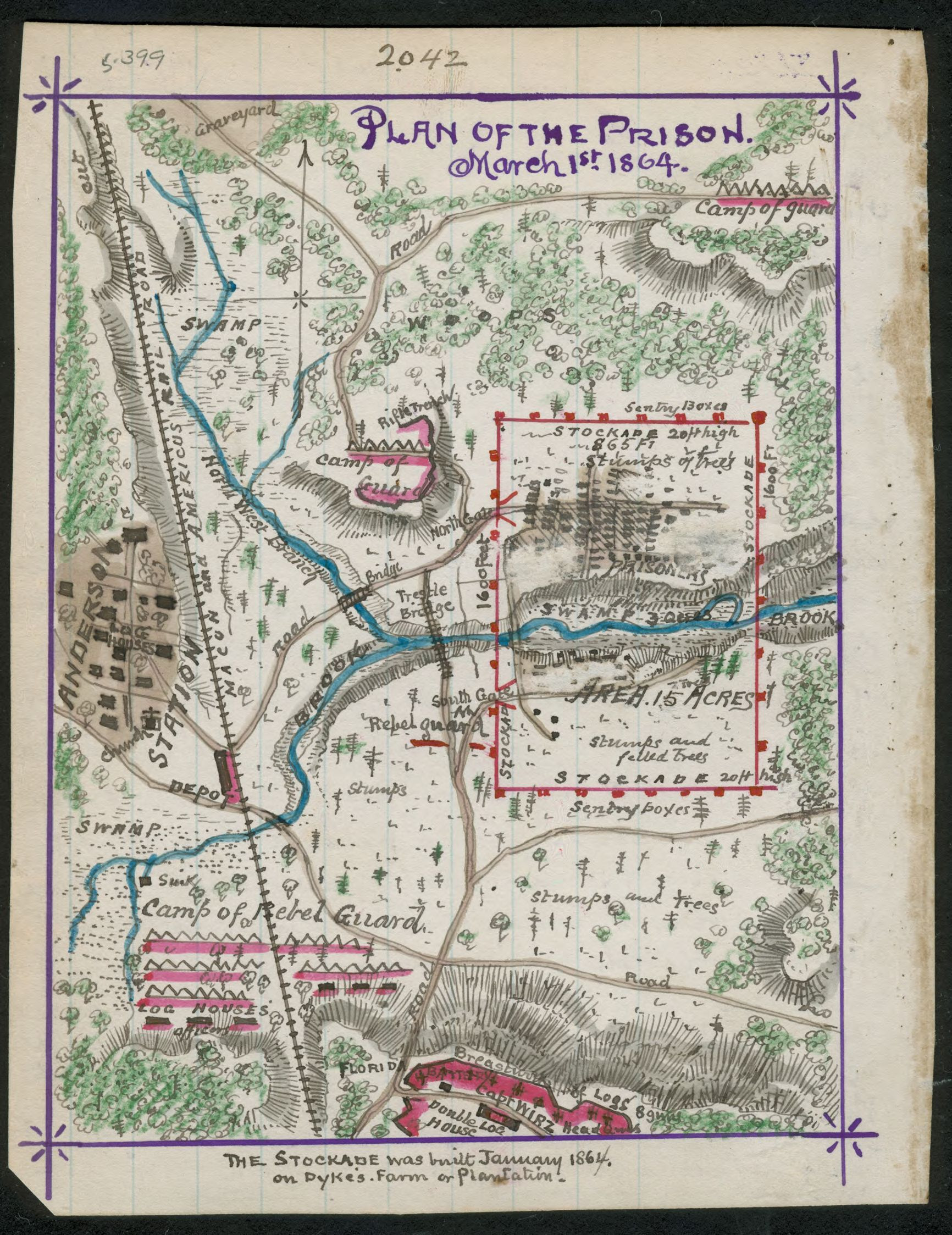 Map Of Georgia Prisons.Plan Of The Prison March 1 1864 Map Shows The Plan Of