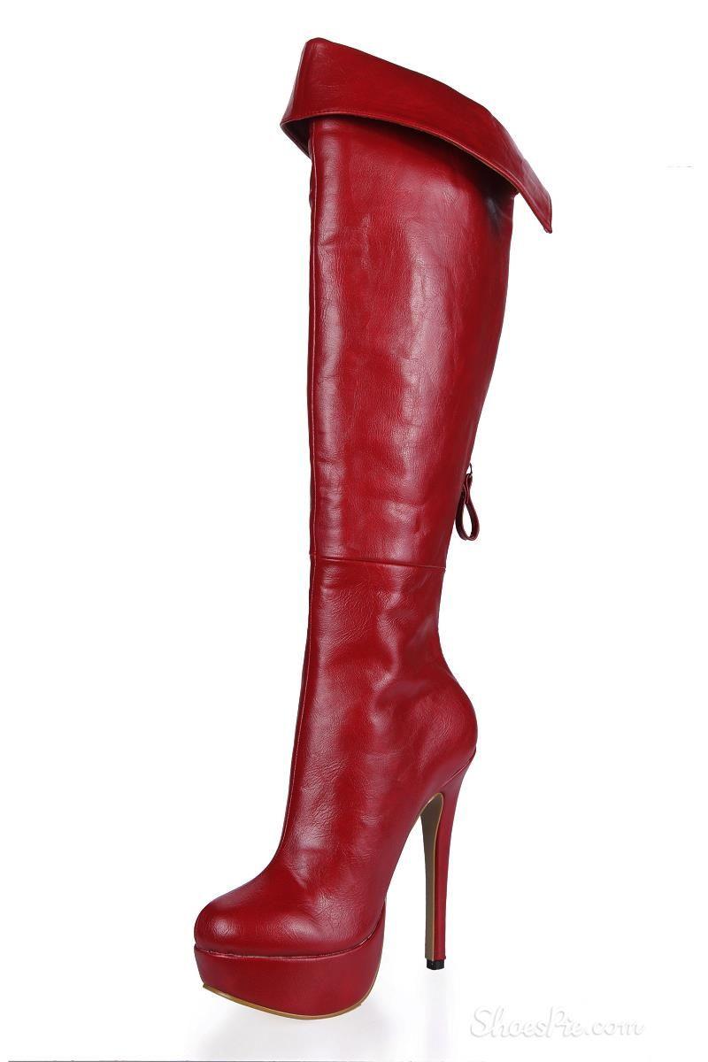 Wine Red Back Zipper Stiletto Heel Knee High Boots With Images Knee High Boots Boots Knee High Leather Boots