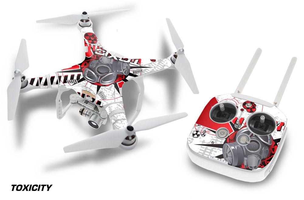 Dji phantom 3 drone wrap rc quadcopter decal sticker custom skin accessory toxic
