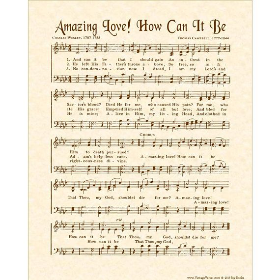 Amazing Love How Can It Be Vintage Verses Antique Hymn Wall With