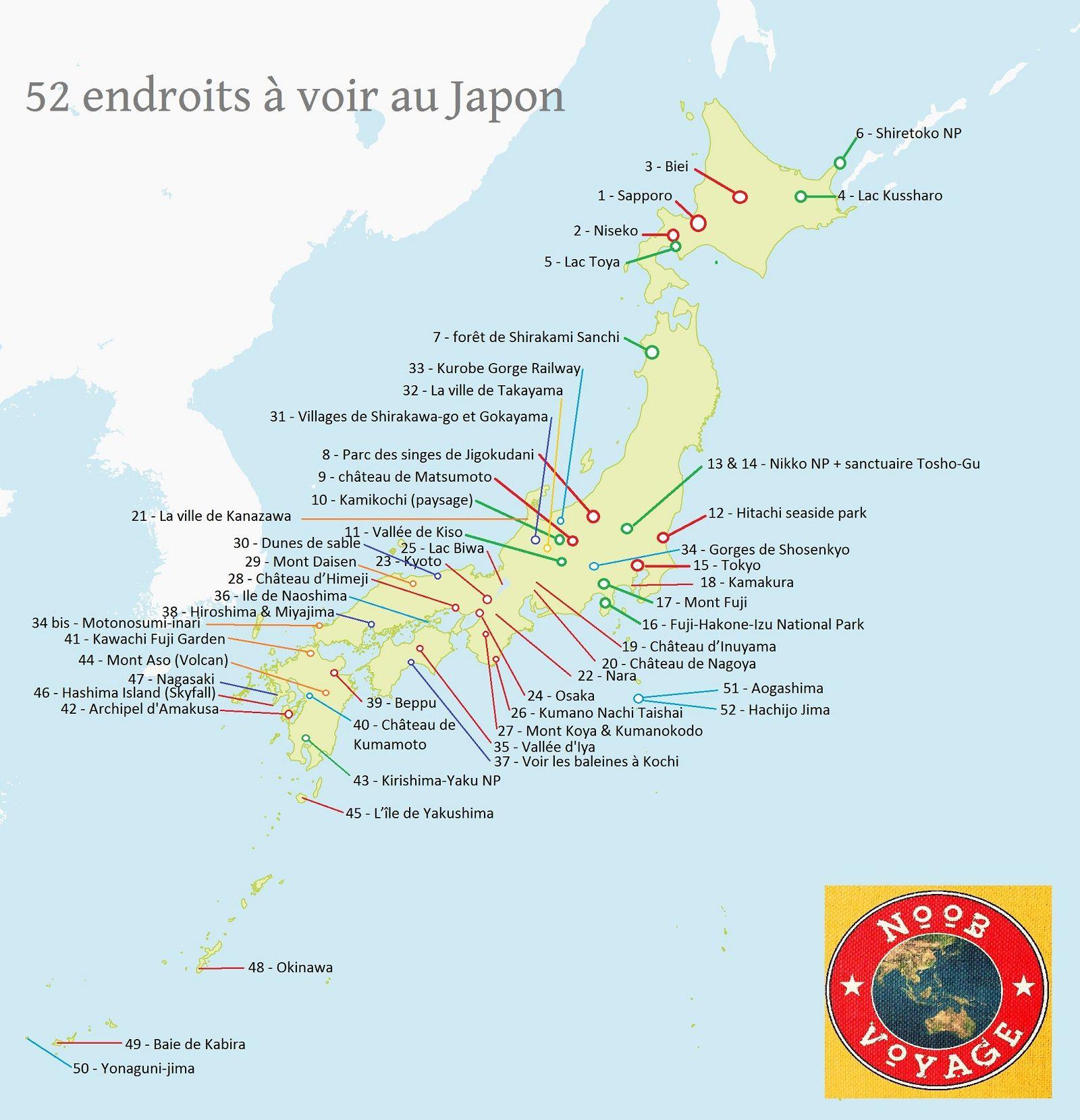 Carte Du Japon Detaillee A Imprimer Les Endroits A Voir