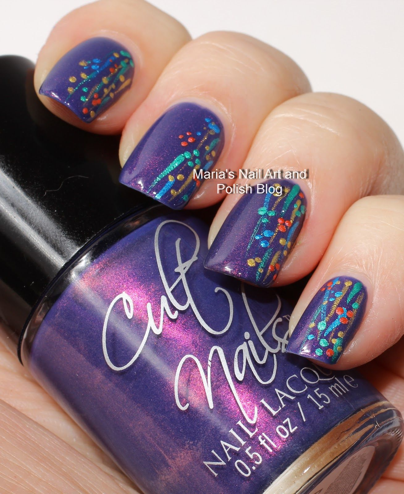 Simple Nail Art Using Toothpick: Flushed With Stripes And Dots