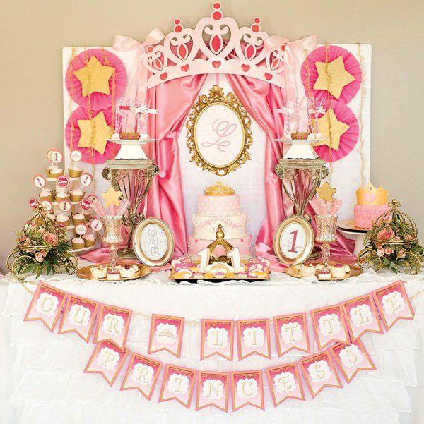explore royal princess birthday and more royal princess first birthday party dessert table