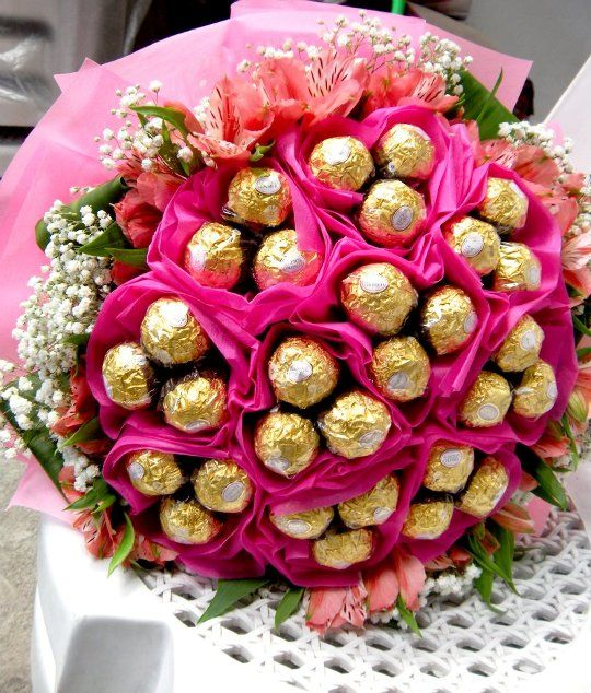 Chocolate Candy Bouquet With Ferrero Rocher Flowers Romantic Gift Chocolate Flowers