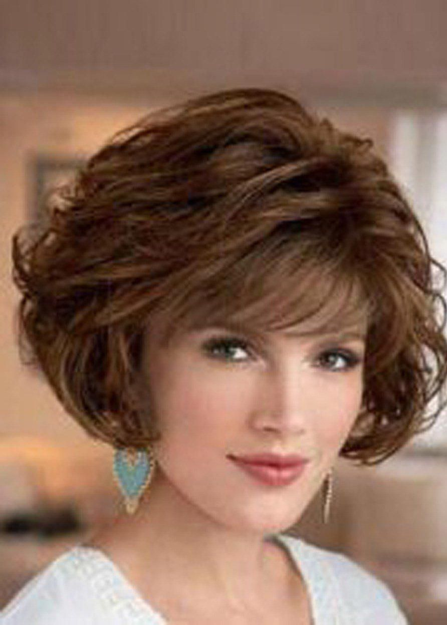 Synthetic Hair Lace Front Cap Big Curly Women 10 Inches Wigs Curlybobhairstyles In 2020 Bob Frisur Lockige Bob Frisuren Bob Frisuren Stylen