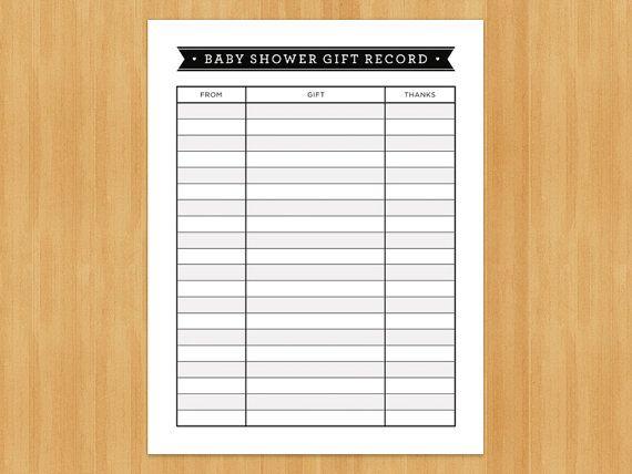 Baby Shower Gift Bingo Printable ~ Printable baby shower gift record list list of gifts received