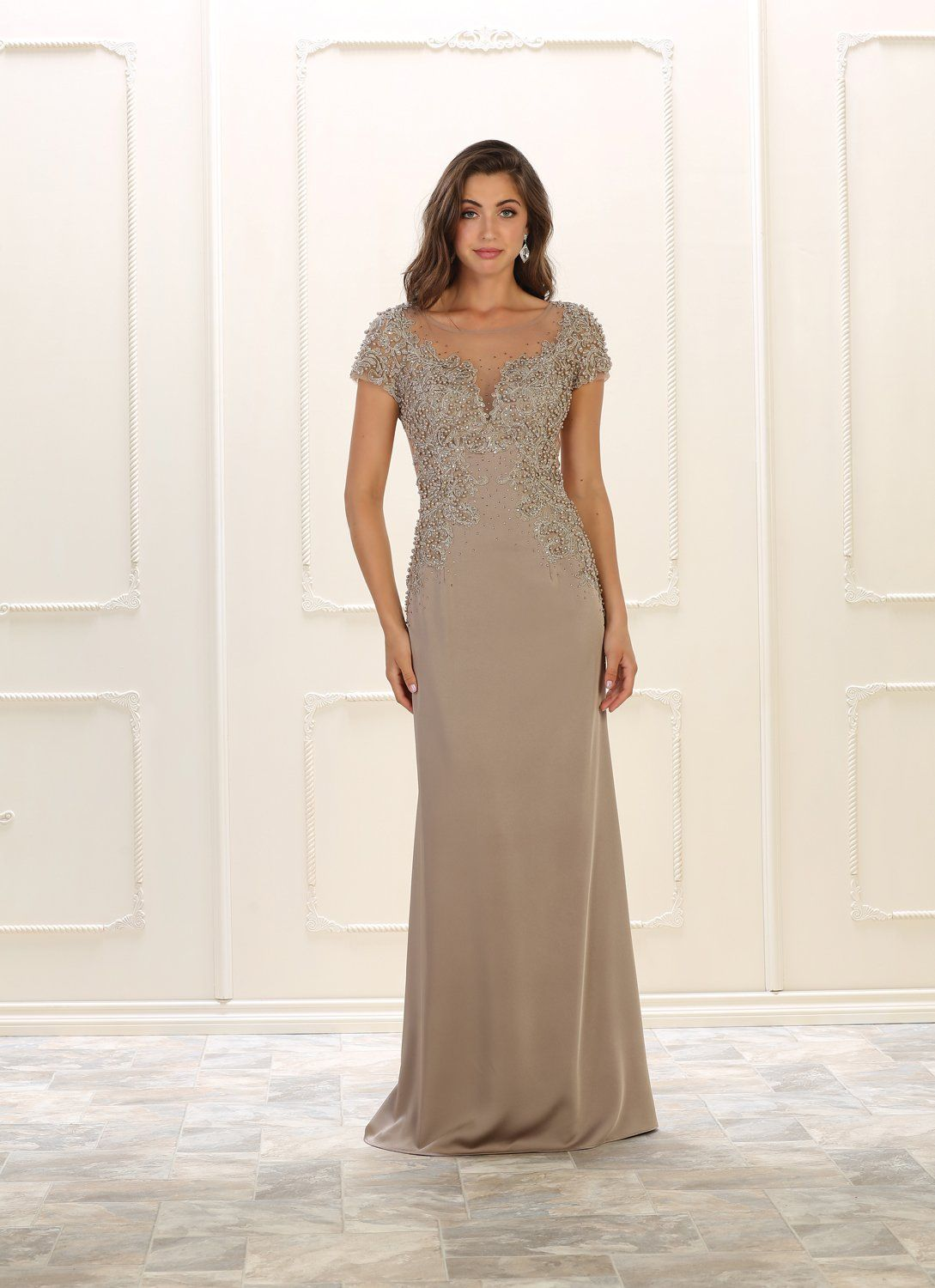 d9d997c50d0 This simply gorgeous long prom dress features an embellish pearls and  rhinestones embroideries over sheer mesh material at the bodice area and  starch Ity ...