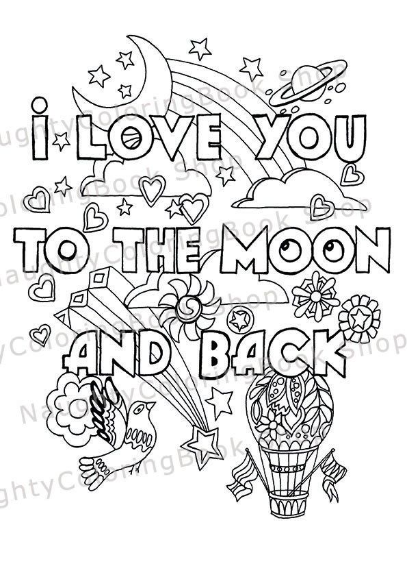 I Love You To The Moon And Back Nursery By Naughtycoloringbook